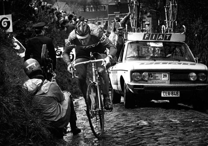 Eddy Merckx in the Koppenberg, Tour des Flandres 1977